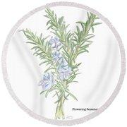 Flowering Rosemary Round Beach Towel
