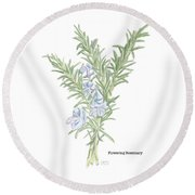 Flowering Rosemary Round Beach Towel