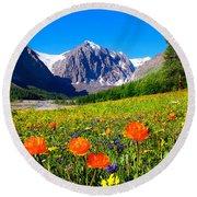 Flowering Valley. Mountain Karatash Round Beach Towel by Victor Kovchin