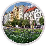 Round Beach Towel featuring the photograph Flowering Wenceslas Square In Prague by Jenny Rainbow