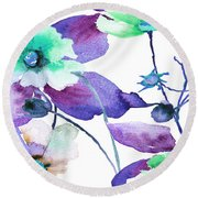 Flowers 01 Round Beach Towel