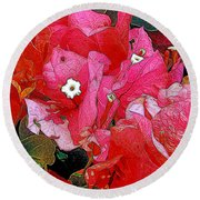 Flowers 14 In Abstract Round Beach Towel