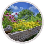 Flowers Along A Wooden Fence Round Beach Towel