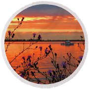 Flowers Along The Shore At Tibbetts Point  Round Beach Towel