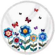 Flowers And Butterflies Round Beach Towel