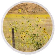 Flowers And Fence Round Beach Towel