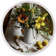 Flowers And Lemons Round Beach Towel
