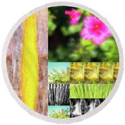 Flowers And Plants Impressionistic Round Beach Towel