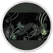 Flowers And Rain Round Beach Towel