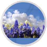 Flowers And Sky Round Beach Towel