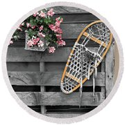 Flowers And Snowshoe Round Beach Towel