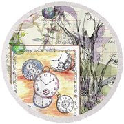 Round Beach Towel featuring the drawing Flowers And Time by Cathie Richardson