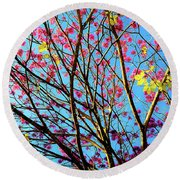 Flowers And Trees Round Beach Towel