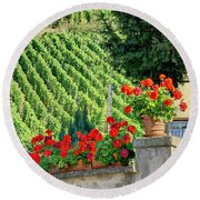Flowers And Vines Round Beach Towel