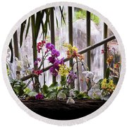Round Beach Towel featuring the photograph Flowers And Waterfall by Steven Sparks