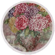 Flowers Arrangement  Round Beach Towel