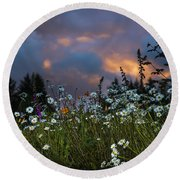 Flowers At Sunset Round Beach Towel