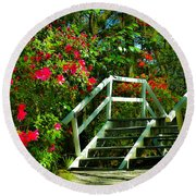 Flowers Bloom Alongside Magnolia Plantation Bridge - Charleston Sc Round Beach Towel