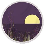 Flowers Blooming At Night Round Beach Towel
