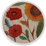 Round Beach Towel featuring the painting Flowers Blowing In The Wind by Robin Maria Pedrero