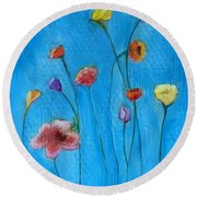 Flowers Blue Background Round Beach Towel