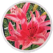 Flowers By The Gate Round Beach Towel