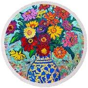 Flowers - Colorful Zinnias Bouquet Round Beach Towel