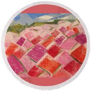 Flowers Fields Round Beach Towel