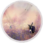 Round Beach Towel featuring the photograph Flowers For Breakfast by Diane Schuster