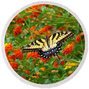Flowers For Butterflies Round Beach Towel