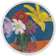Flowers For Gary Round Beach Towel