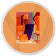 Flowers For Matisse 2  By Bill O'connor Round Beach Towel