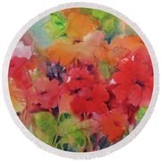 Round Beach Towel featuring the painting Flowers For Peggy by Michelle Abrams