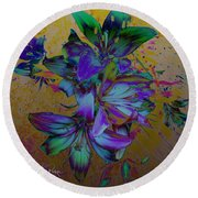 Flowers For The Heart Round Beach Towel