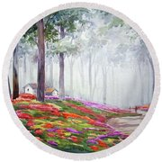 Flowers Garden Inside A Forest Round Beach Towel by Samiran Sarkar