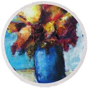 Round Beach Towel featuring the painting Flowers In A Blue Vase. by Yulia Kazansky