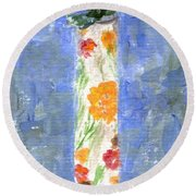 Round Beach Towel featuring the painting Flowers In A Bottle by Jamie Frier