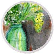 Flowers In A Green Jar- Art By Linda Woods Round Beach Towel