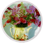 Flowers In A Teapot Round Beach Towel by Patricia Greer