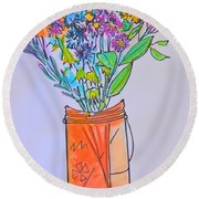Flowers In An Orange Mason Jar Round Beach Towel