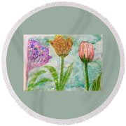 Tulips A'bloom Round Beach Towel