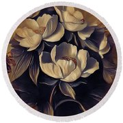 Flowers In Fall Round Beach Towel