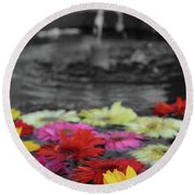 Flowers In Fountain Round Beach Towel