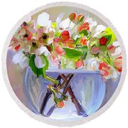 Flowers In Glass Bowl Round Beach Towel