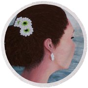 Flowers In Her Hair Round Beach Towel by Judy Kirouac