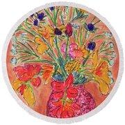 Flowers In Red Vase Round Beach Towel
