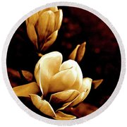 Flowers In Sepia  Round Beach Towel