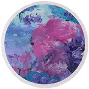 Flowers In The Clouds Round Beach Towel