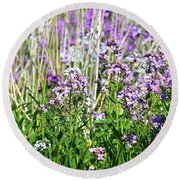 Flowers In The Field  Round Beach Towel by Lyle Crump