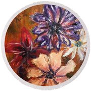Flowers In The Spring Round Beach Towel